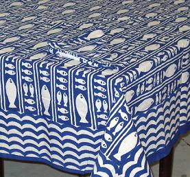 Table Linens Stripe Fish