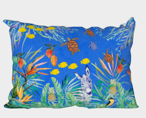 Caribbean print with donkey, sugar birds mangos & sea turtles on a blue backgound