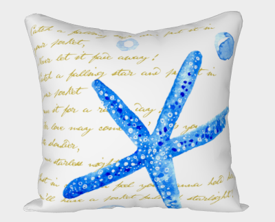 water color starfish with catch a falling star script