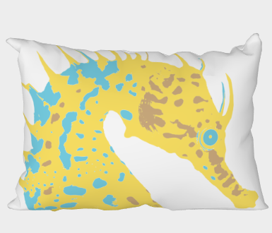 Yellow sea horse on white backgound