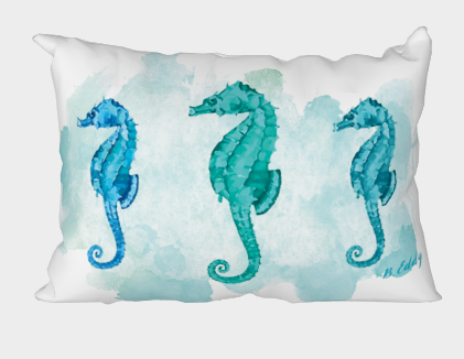 3 seahorses on water color ground