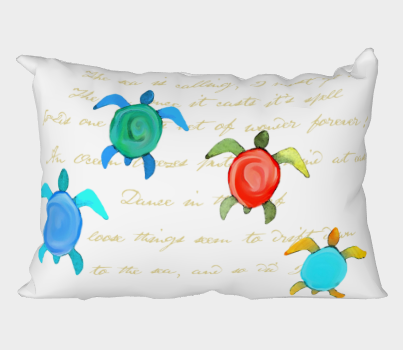 Water color sea turtles with gold script