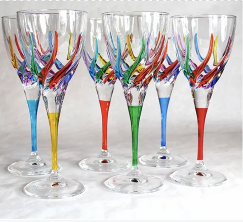 Trix Multi Color Italian Crystal Glassware