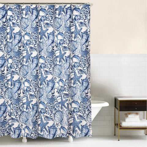 Blue Coast Shells Shower Curtain