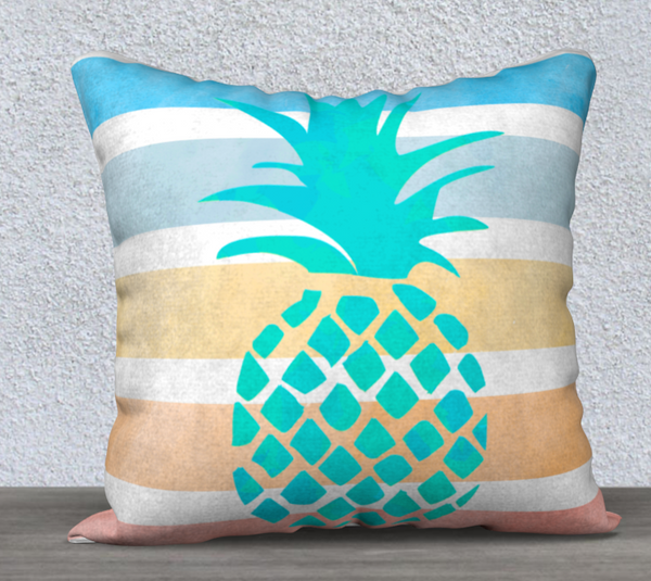 Aqua pineapple stencil over stripes