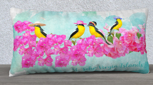 4 sugar birds on bouganvillea