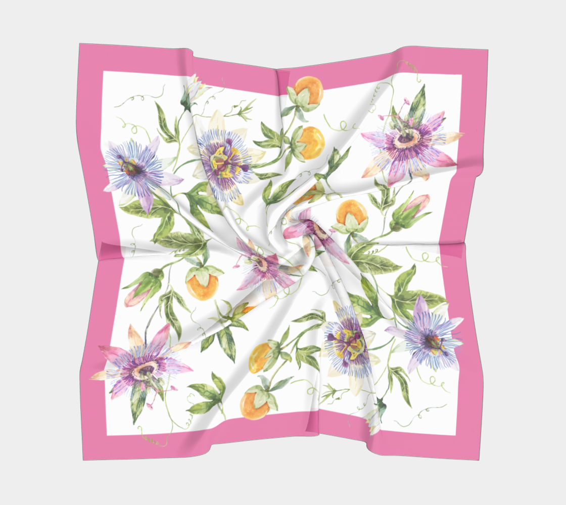 Passion fruit and flowers adorn a silk scarf