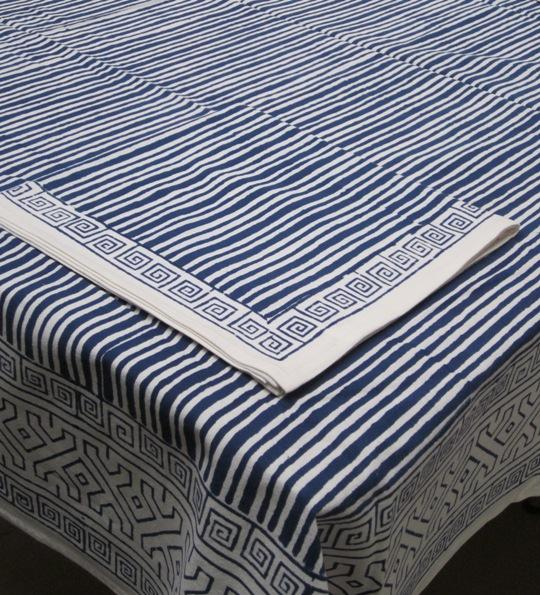 Table Linens Navy Ribbons