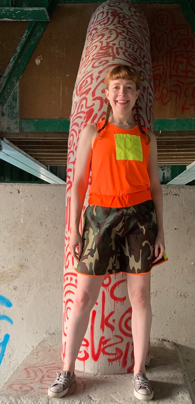 HIgh Vis Muy Thai Patchwork Camo shorts.