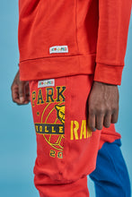 "Load image into Gallery viewer, Red ""Parkdale collegiate"" Revamped hoodie sweatpants. Alterations available."