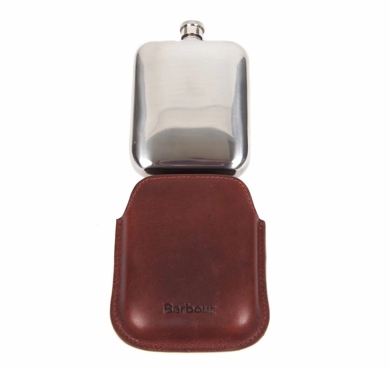 Barbour Waxed Leather Hip Flask Gift Box