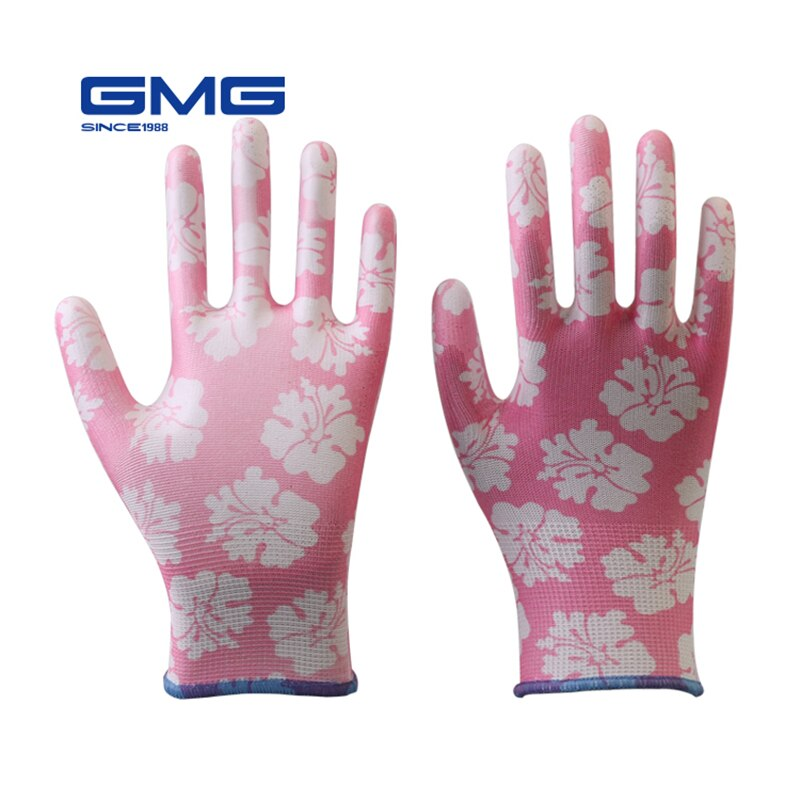Garden Gloves GMG Printed Polyester Shell White PU Coating Safety Work Gloves Women's Working Gloves Women