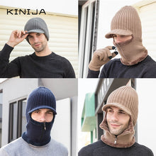 Load image into Gallery viewer, Men Warm fleece visor Hat+Scarf  glove Three piece set winter Windbreak ear protection  Warm thick wool Windproof Knitting Cap