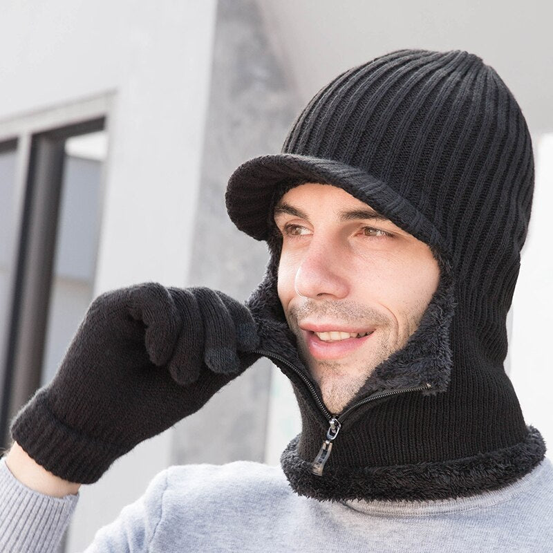 Men Warm fleece visor Hat+Scarf  glove Three piece set winter Windbreak ear protection  Warm thick wool Windproof Knitting Cap