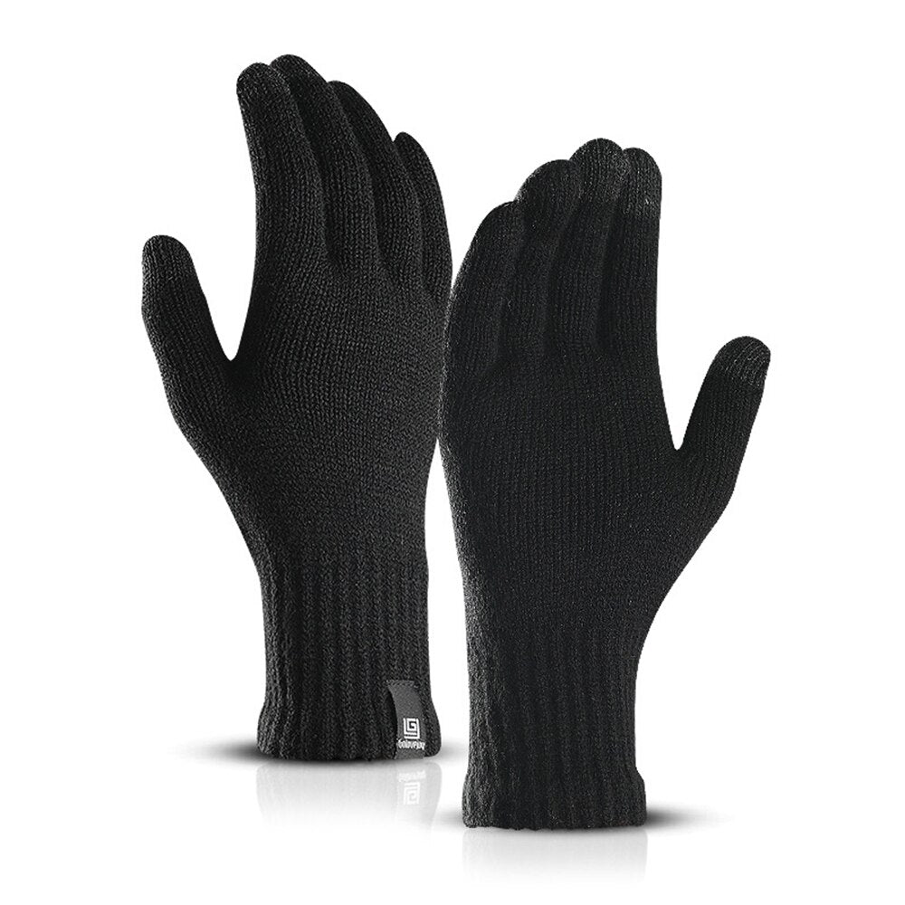 Winter Warm Men Women Touch Screen Knitted Gloves Fashion Simple Solid Color Wool Gloves Plus Velvet Students Korean Version