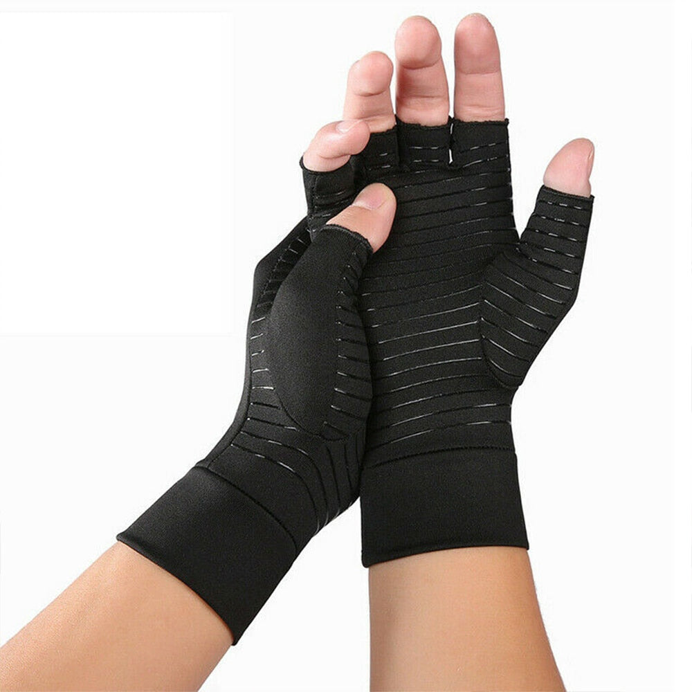 1 Pair Compression Arthritis Gloves Women Men Joint Pain Relief Half Finger Brace Therapy Wrist Support Anti-slip Therapy Gloves