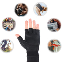 Load image into Gallery viewer, 1 Pair Compression Arthritis Gloves Women Men Joint Pain Relief Half Finger Brace Therapy Wrist Support Anti-slip Therapy Gloves