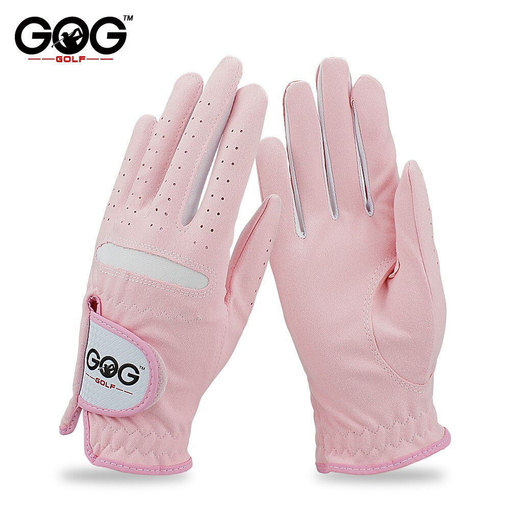 1 pair GOG GOLF GLOVES Professional Breathable Pink Soft Fabric For women left and right hand