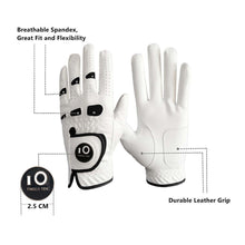 Load image into Gallery viewer, 2 Pack Premium PU Leather Men's Golf Gloves with Ball Marker Cabretta Left Right Hand All Weather Grip Breathable