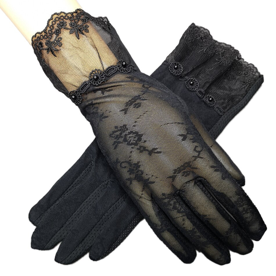 Summer Driving Gloves Touch Screen Women's Lace Gloves Ice Silk Gloves Short Thin Sunscreen Outdoor Anti Skid Gloves