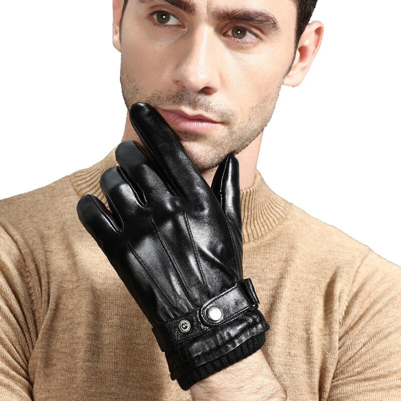 New Luxury Leather Mens Touch Gloves Plus Velvet Thick Winter Sheepskin Gloves Black Breathable Driving Gloves NZ156