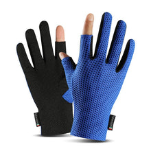 Load image into Gallery viewer, Summer Women Fishing Gloves Two Cut Fingers Anti-Slip Honeycomb Elastic Men Breathable Ice Silk Outdoor Cycling Sunscreen Gloves