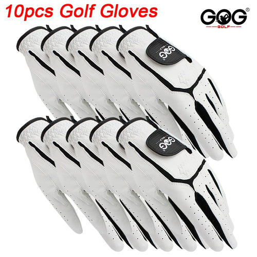 10pcs GOG golf gloves Professional Men's Genuine Leather sheepskin left golf glove for golfer soft Breathable new Free Shipping