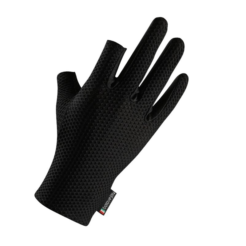 Summer Women Fishing Gloves Two Cut Fingers Anti-Slip Honeycomb Elastic Men Breathable Ice Silk Outdoor Cycling Sunscreen Gloves
