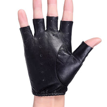 Load image into Gallery viewer, Men Women Same Style Genuine Leather Driving Gloves Motorcycle Half Finger Gloves Black Sheepskin Leather Gloves Tactical AGB645