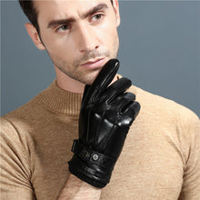 Load image into Gallery viewer, New Luxury Leather Mens Touch Gloves Plus Velvet Thick Winter Sheepskin Gloves Black Breathable Driving Gloves NZ156
