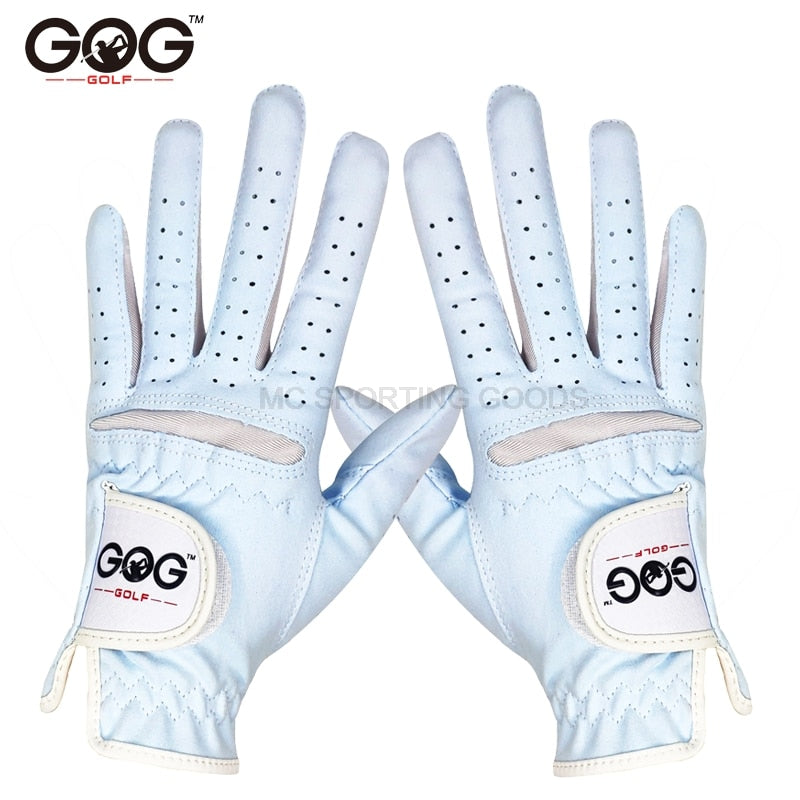 1pair GOG GOLF GLOVES BLUE Professional Breathable Sky Blue soft Fabric For women left and right hand free shipping