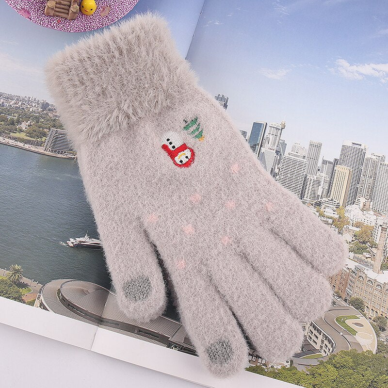 Iwarm women's knited Gloves Autumn Winter Touch screen Gloves Warm lovely Mittens
