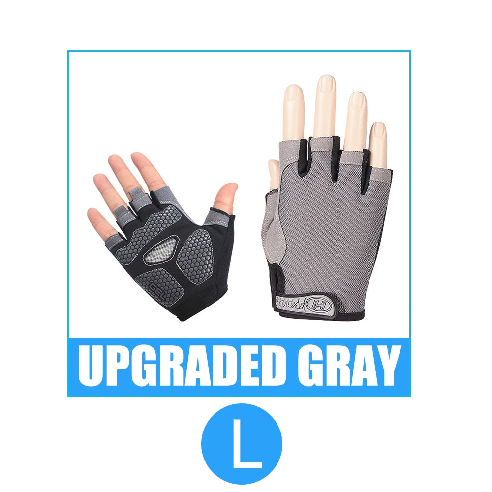 Breathable Anti-sweat Anti-slip Half Finger Gloves Silicone Mesh Cycling Men Women Anti-shock Sports Gloves Bike Bicycle Glove