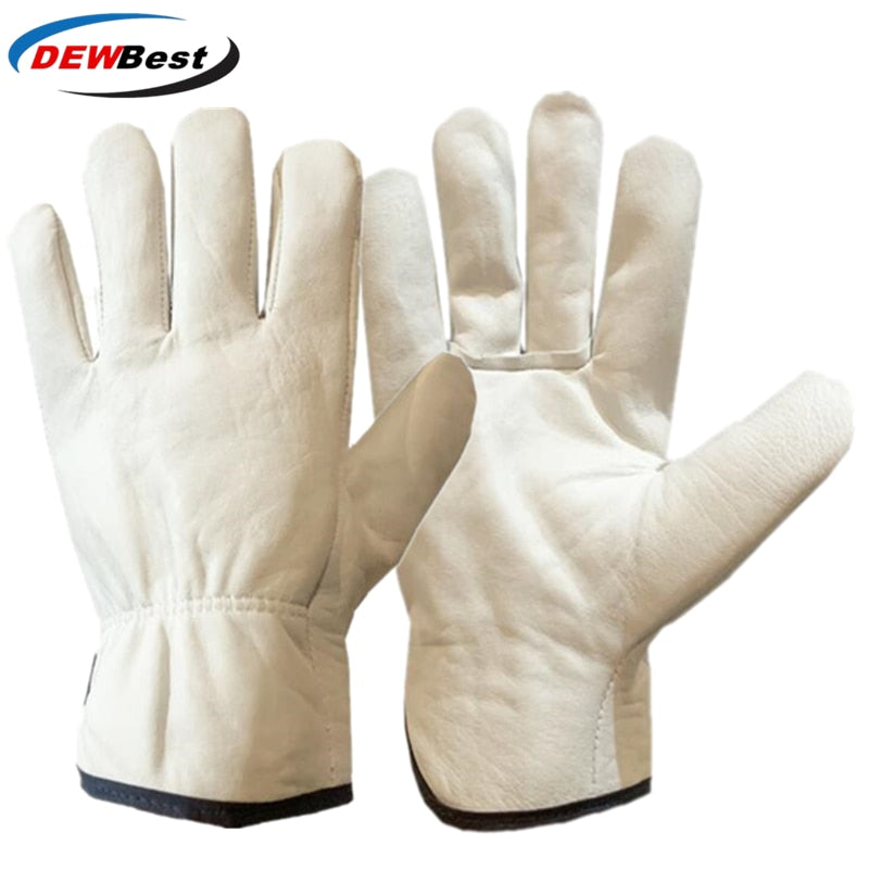 DEWBest Work Gloves Cowhide Leather Men Working Welding Gloves Safety Protective Garden Sports  Wear-resisting Gloves