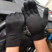 Load image into Gallery viewer, 1Pair Men Black White Etiquette Short Gloves Thin Stretch Spandex Sports Driving Sun Protection Five Fingers Gloves Handschoenen