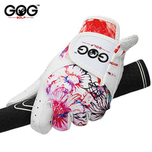Load image into Gallery viewer, 1 Pair GOG Golf Gloves Genuine Leather & Color Pattern Lycra left hand + right hand soft sports new gloves for woman lady girls