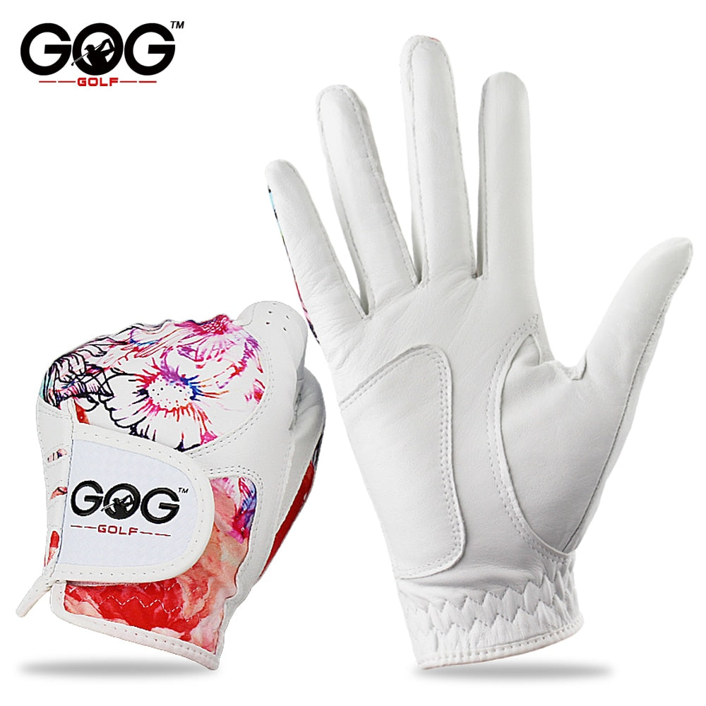 1 Pair GOG Golf Gloves Genuine Leather & Color Pattern Lycra left hand + right hand soft sports new gloves for woman lady girls