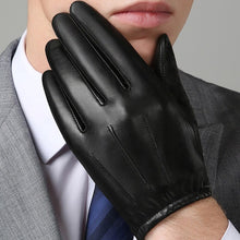 Load image into Gallery viewer, Genuine Leather Men Gloves Autumn Winter Plus Thin Velvet Fashion Trend Elegant Male Leather Glove For Driving NM792B
