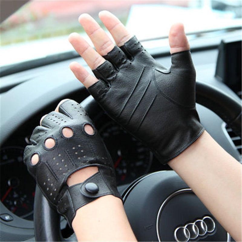 Genuine Leather Semi-Fingers Gloves Male Breathable Hole Thin Style Men Half-Finger Lambskin Gloves Imitation Deerskin M046P