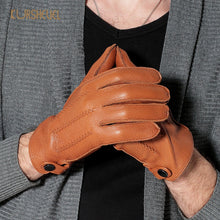 Load image into Gallery viewer, Fashion Luxury Men Deerskin Gloves Button Wrist Solid Genuine Leather Male Driving Gloves Winter Warm Gloves Free Shipping