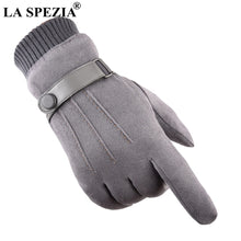 Load image into Gallery viewer, LA SPEZIA Men Gloves Winter Touch Screen Suede Gloves With Belt Navy Blue Casual Thermal Male Thick Leather Gloves Man Windproof