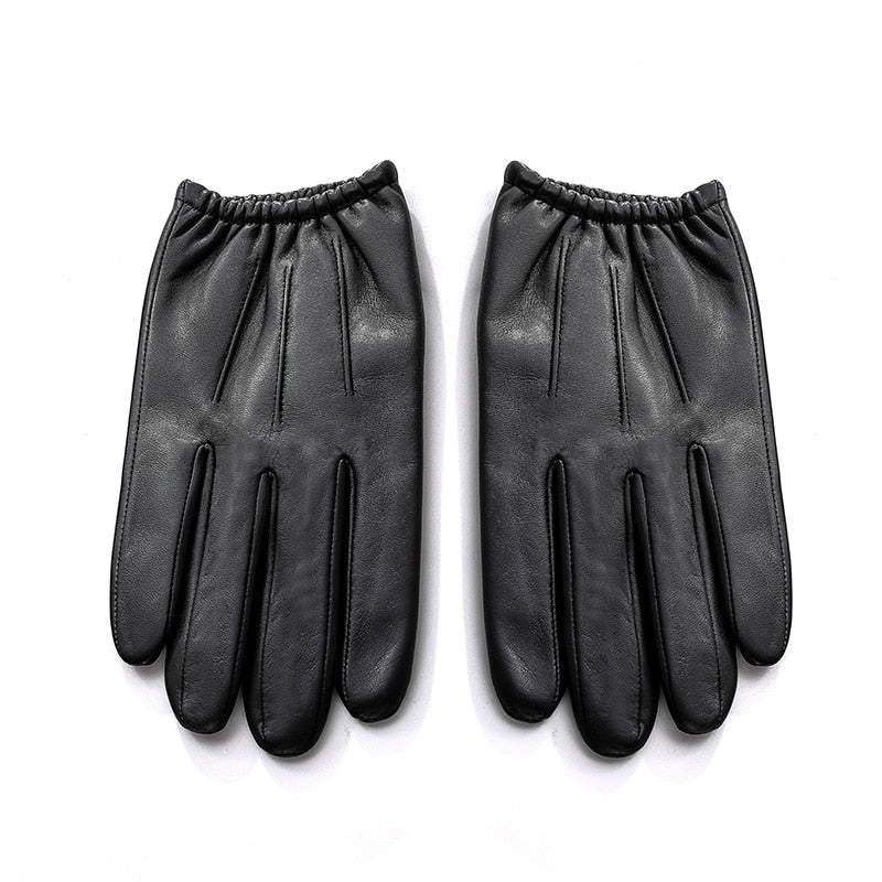 Genuine Leather Men Gloves Autumn Winter Plus Thin Velvet Fashion Trend Elegant Male Leather Glove For Driving NM792B