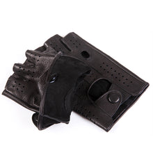 Load image into Gallery viewer, Genuine Leather Semi-Fingers Gloves Male Breathable Hole Thin Style Men Half-Finger Lambskin Gloves Imitation Deerskin M046P