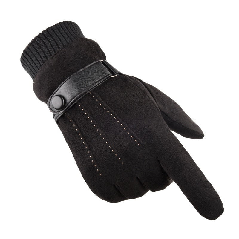 LA SPEZIA Men Gloves Winter Touch Screen Suede Gloves With Belt Navy Blue Casual Thermal Male Thick Leather Gloves Man Windproof