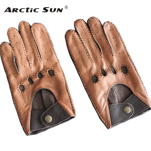 Men's Genuine Leather Gloves Male Breathable Fashion Classic Goatskin Unlined Thin Spring Summer Driving Mittens TB15