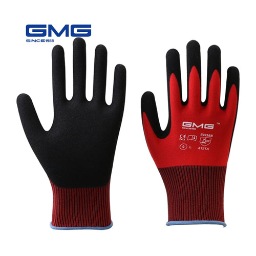 12 Pairs Construction Gloves GMG Red Polyester Shell Black Nitrile Sandy Coating Work Safety Gloves Men Work Gloves