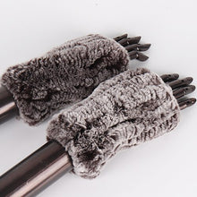 Load image into Gallery viewer, New Women 100% Real Genuine Knitted Rex Rabbit Fur Mittens Winter Warm Lady Real Fur Fingerless Gloves Handmade Knit Fur Mitten