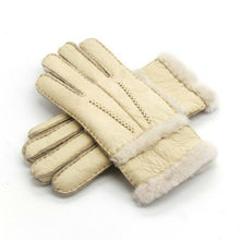 Load image into Gallery viewer, Winter Woolen Gloves Women Gloves Real Sheepskin Fur Warm Gloves Elegant Ladies Full Finger Genuine Leather Gloves