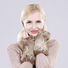 Load image into Gallery viewer, New Fashion Girl Natural Real Rex Rabbit Fur Gloves Good Elastic Knitted Rex Rabbit Fur Mittens Women Real Rex Rabbit Fur Gloves