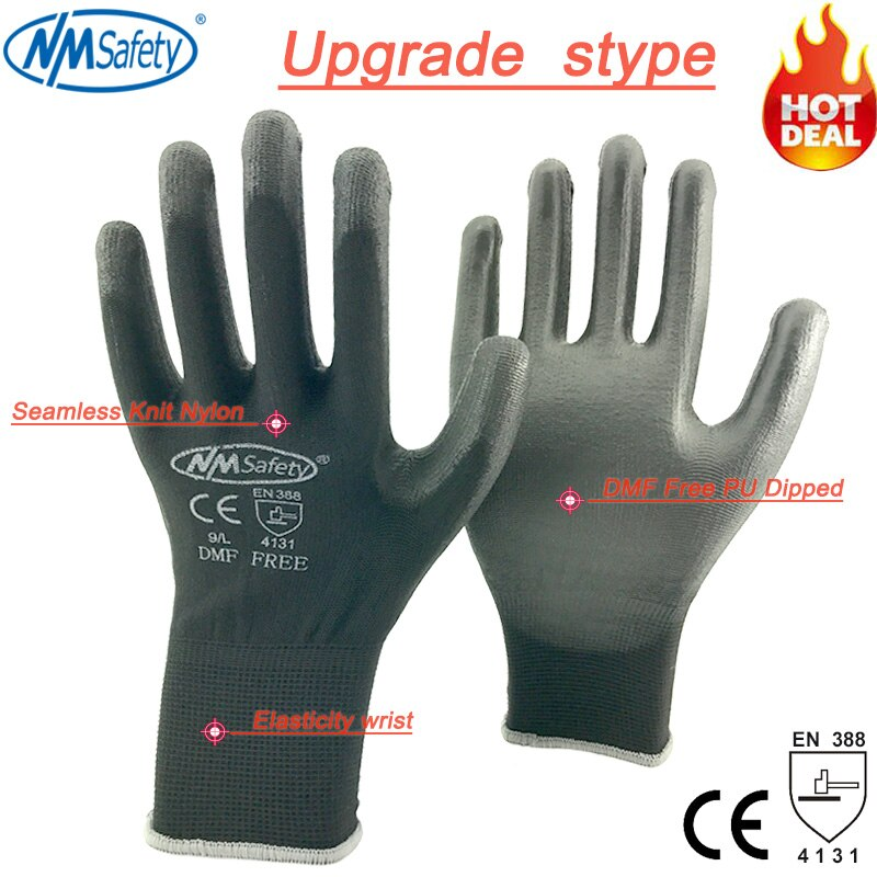 NMSAFETY 12 pairs Working Protective Glove Men Flexible Nylon or Polyester Safety Work Gloves